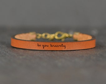 be you bravely bracelet   leather   leather jewelry   gift for graduate   gift for daughter   encouraging jewelry   laurel denise