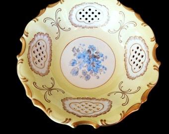 Pirkenhammer Bohemian Czech Fine Porcelain Reticulated Yellow Toile Bowl 24K gold