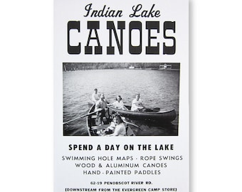 Indian Lake Canoes Roadside Sign Poster Print