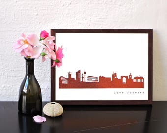 STUTTGART Skyline REAL Copper foil Poster, Copper printed premium Ecological Paper, Housewarming, Cityscape Art Print handmade by 44spaces