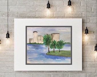 Orlando painting, Watercolor landscape print, Palm tree landscape, Florida artwork, The City Beautiful, City Skyline painting, blue artwork