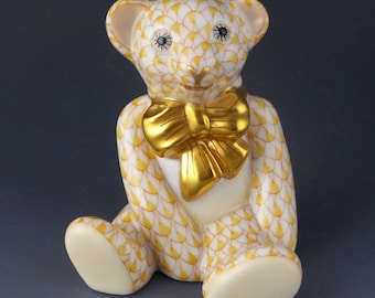 Herend Ornament Baby BEAR Cub Sitting Fishnet Figurine 15538 Butterscotch Yellow