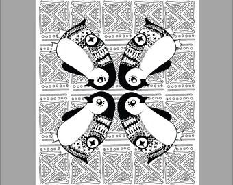 Patterned Penguin Printable Coloring Sheet
