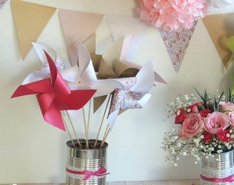Set of 10 pinwheels wind color Liberty, kraft, fuchsia and white 15cm