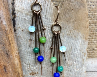 Boho Hammered Dangle Earrings Blues Greens Antique Bronze Gold        1.99 Shipping USA