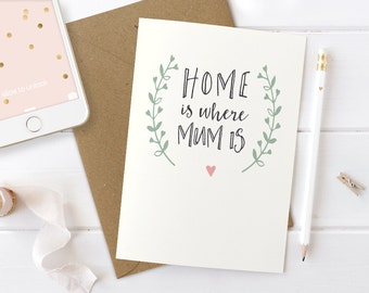 Sweet Mother's Day Card, Mothers Day Card, Home Is Where Mum Is, Birthday Card for Mum, Just Because Card, Card for Mum, Unique Mothers Day