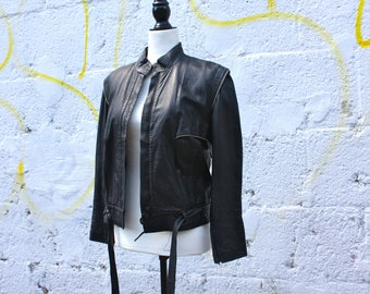 80's 90's moto bomber leather jacket; european size 42; approx Medium; with nice details