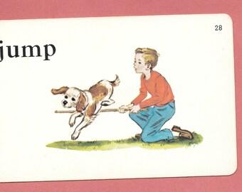 JUMP/boy and dog/Vintage Vocabulary Flashcard