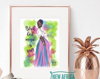 "Melanin Squad Art Print ""Ebony"", Art print - Unframed, African American Art, 8 x 10, 11 x 14"