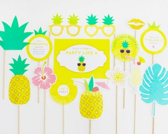Pineapple Party Photo Booth Props, Tropical Decorations, Hawaiian Luau, Party Printable | INSTANT DOWNLOAD