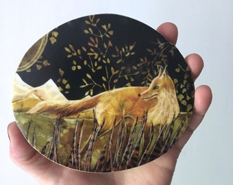 Autumn Fox art, fathers day gift, Rustic cabin decor, Housewarming, shellieartist, wall decor, gift for him, Mounted Print, round wood slice
