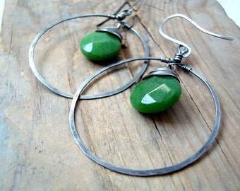 Large Hoop Earrings - Green Jade. Oxidized Sterling Silver Forest Green Fall Fashion Holiday Jewelry Earthy Organic Artisan Jewelry