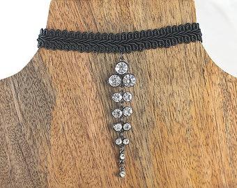 Choker, Black Choker, Rhinestone Choker, Black necklace