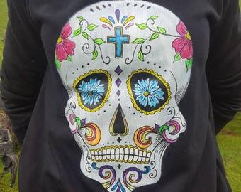 Halloween costume, halloween sweatshirt,skull, custom painted, womens sweatshirt, men sweatshirt, glow in the dark, hand painted sweatshirt