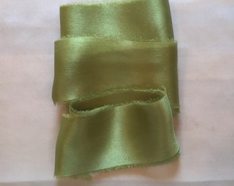 green silk ribbon, hand dyed silk ribbon, perfect for bouquets, invitations, wedding styling and stationery ~ weddings ~ bouquets ~ gifts