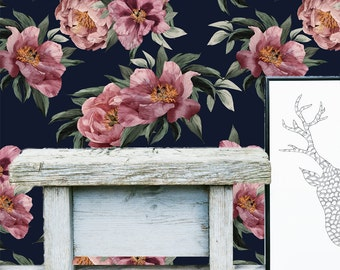 Floral Wall Mural -  Flower Self Adhesive Fabric Wallpaper -  Removable, Repositionable, Reusable. EASY PEEL & STICK !! R0025