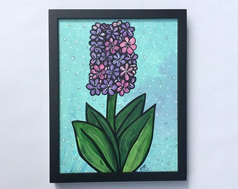 Purple Hyacinth Painting - Original Mixed Media Floral Painting, spring flower artwork, wall art decor by Claudine Intner