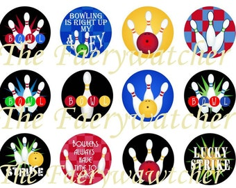 One Inch Bowling Flatbacks, Pins or Magnets 12ct.