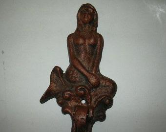 ON SALE cast iron mermaid and dolphin door knocker