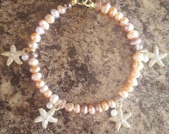 Starfish Charm Bracelet With Freshwater Pearls