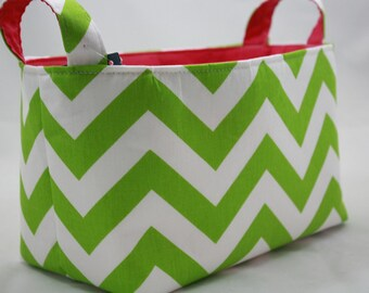 Fabric Organizer /  Storage Bin / Container Basket / ZigZag Chartreuse / choose your color lining 10 x 6 x 6