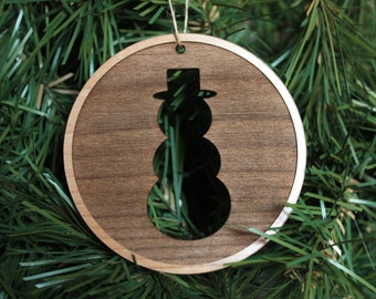 Wooden Snowman Ornament - Christmas Tree Ornaments - Xmas Ornaments