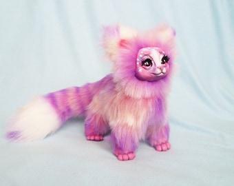 Pink sweet marshmallow candy cat stuffed toy ooak