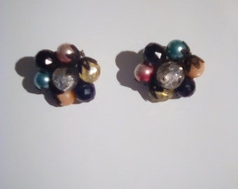 Vintage Multicolored Beaded Clip On Earrings