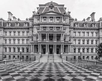 B&W Washington DC Photography - Eisenhower Executive Office Building, Second Empire Architecture, Wedding Cake Building, DC Office Wall Art