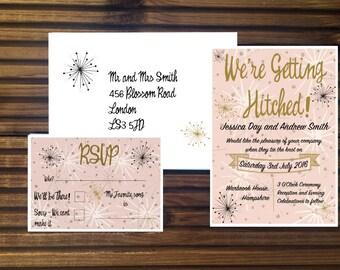 Atomic Mid Century Style Wedding Invitations
