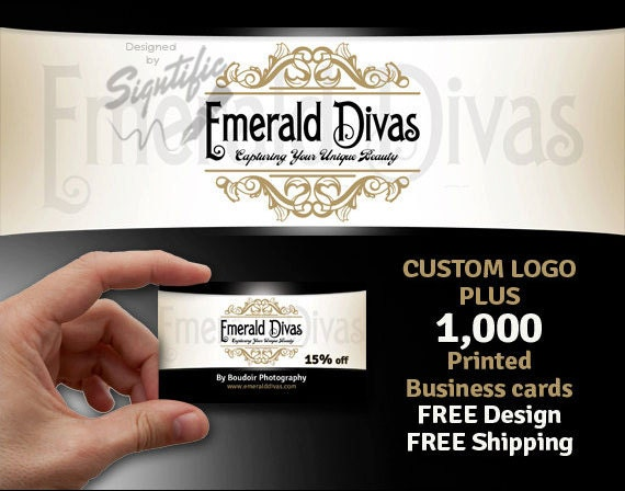 Logo and 1000 Business Cards, FREE shipping, Business Startup Package, Custom Business Logo Design with Printed Business Cards