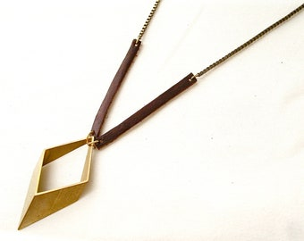 Geometric Brass, Leather, and Chain necklace