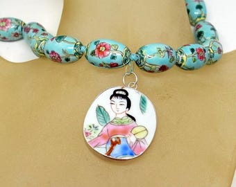 Geisha Girl Necklace - Pink And Green Hand-Painted Hand-Knotted On Silk Porcelain Beads - Antique Shard Pendant With Beautiful Woman