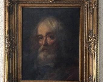 Sale Antique Italian Oil Painting Portrait of a Bearded Gentleman O/C Old Master Style European Art Framed