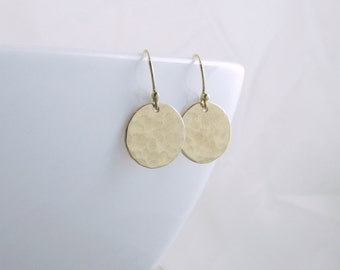 Gold Disc Earrings Gold Circle Earrings Minimal Earrings Gold Dangle Earrings Gold Dot Everyday Earrings Christmas Gift Wife Mom Girlfriend