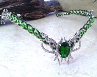 Emerald Green Crystal Elven Circlet Tiara Crown Celtic Weave
