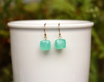 Aqua Chalcedony Earrings, Gold or Silver, Chalcedony Earrings, Aqua Gemstone, Natural Chalcedony Lightweight Earring, Free Shipping