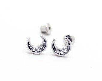 Crescent moon .925 sterling silver earrings