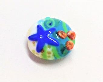 1 Ocean Starfish Beach Lampwork Glass Beads Jewelry Supplies -