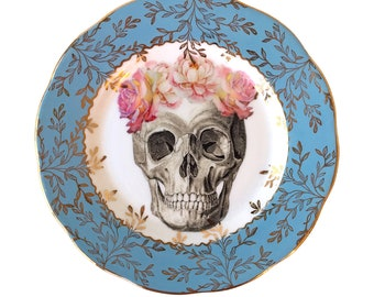 Vintage - Illustrated - Skull Plate - Wall Display - Altered Plate - Antique - Upcycled - Day of the Dead - Goth