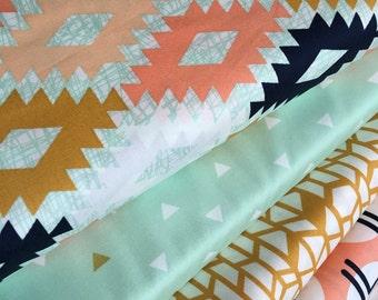 Tribal fabric, Metallic fabric, Quilting fabric, Cotton Fabric by the Yard, Arizona Fabric, Art Gallery- Fabric Bundle of 4