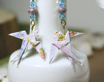 Japanese washi paper origami earrings, lilac