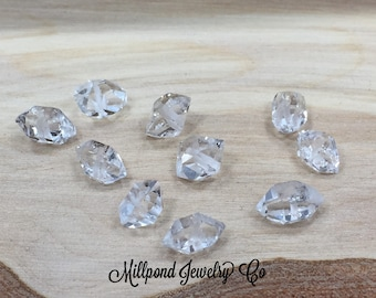 Herkimer Diamonds, Double Terminated Beads, Double Terminated Crystals, Crystal Beads, Clear Beads, Faceted Beads, 10pcs Per Order
