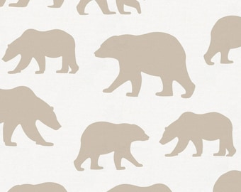 Taupe Bears Organic Fabric - By The Yard - Boy / Girl / Gender Neutral