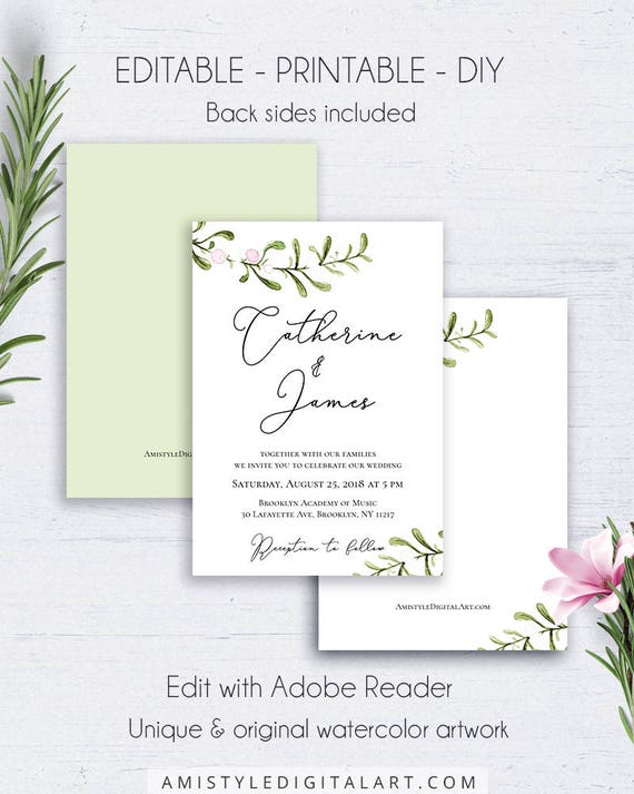 Rustic Wedding Invitation Suite Template Wedding Set