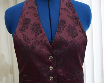 VINTAGE Purple and black brocade Ladies Gothic Victorian Steampunk Waistcoat Vest UK 114/16 Obsidian