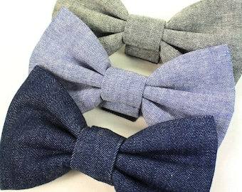 Chambray Dog Bow Tie, Chambray Cat Bow tie, Denim Dog Bow Tie, Denim Cat Bow Tie Grey Blue Bow Tie Wedding Bowtie