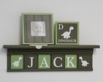 Dinosaur Birthday Gift | Nursery Custom Letters Chocolate Brown Shelf with Letter Tiles Brown / Light Green Personalized Baby Boy Name Decor
