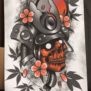 Ordinaire Undead Samurai Print By Nick Keiser  Neotraditional   Tattoo Artist   Art   Home  Decor