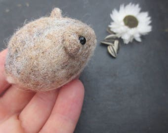 Felted DWARF HAMSTER in  tan and white ornament keepsake small Valentine gift stocking stuffer party favor